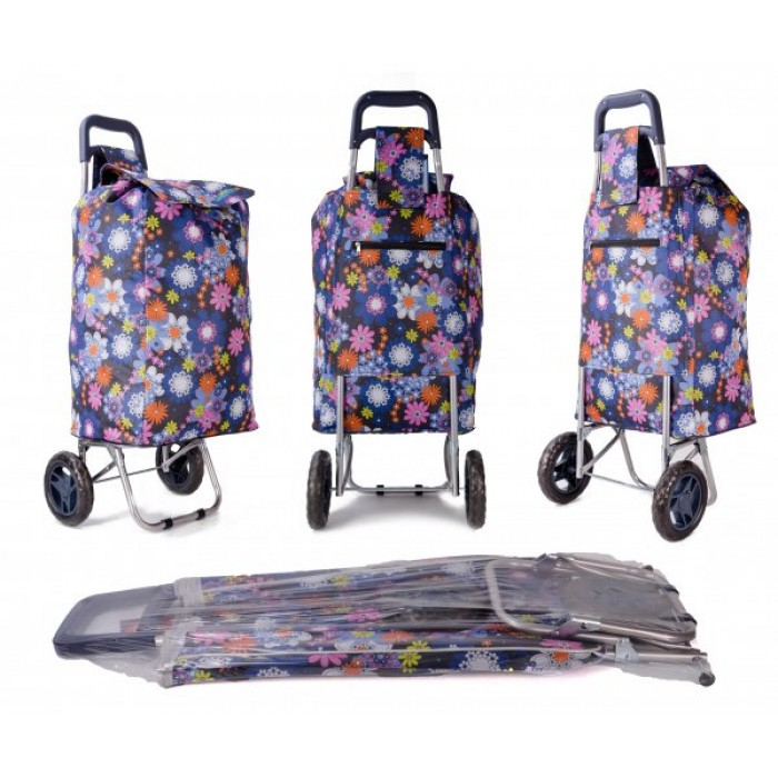 EV-433 FLORAL SHOPPING TROLLEY W/ VELCRO AND STRING PULL