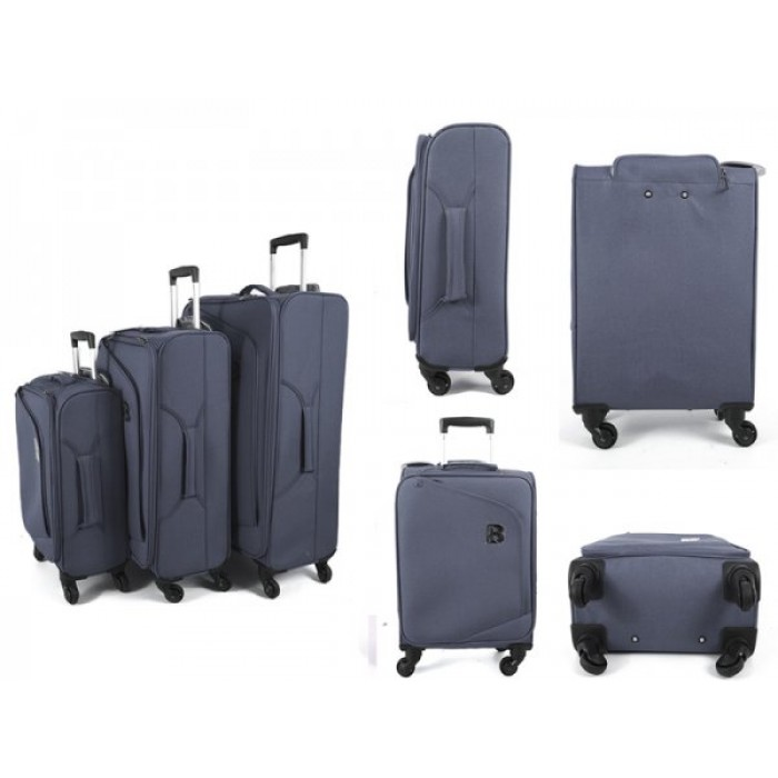 JB2008 GREY SET OF 3 TROLLEY BAGS WTH 4 SWIVEL WHEELS