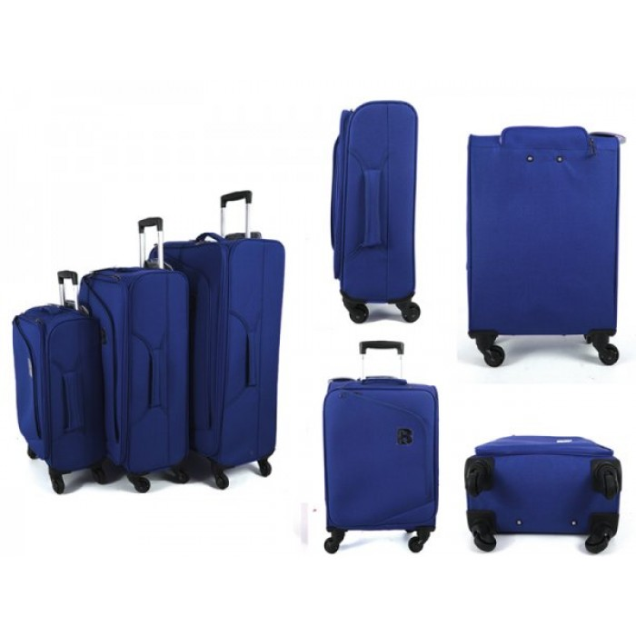 JB2008 NAVY SET OF 3 TROLLEY BAGS WTH 4 SWIVEL WHEELS
