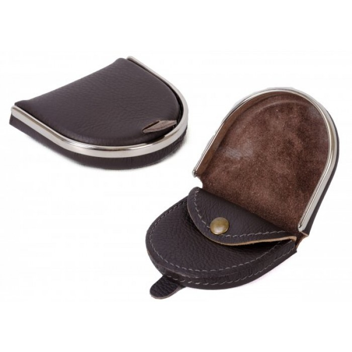 1693- BROWN TEXTURED LEATHER TRAY PURSE