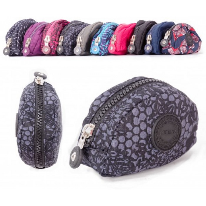 2505 FLORAL SMALL ZIP ROUND COIN PURSE W/ INNER CLIP