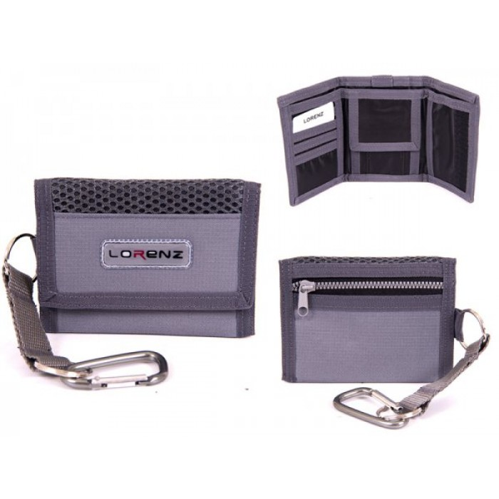 7999 GREY SMALL TRIFOLD SPORTS WALLET WITH BELT HOOK