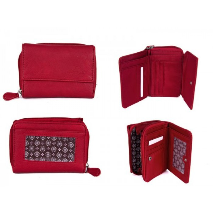JBPS124 RED PURSE WITH POP FRONT & REAR & 1 ZIP
