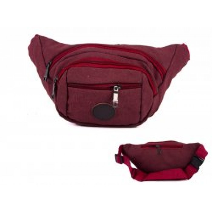 2556 RED MULTI ZIP OVAL SHAPED BUMBAG 4 ZIPS