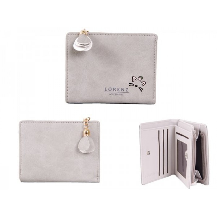 7140 GREY SML PU PERSE WITH CAT FEATURES