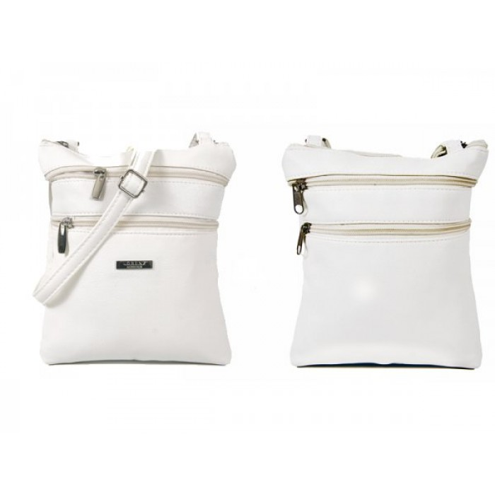 d95f1a4414 5894 WHITE LEATHER GRAN PU TOP ZIP BAG WITH 4 ZIPS