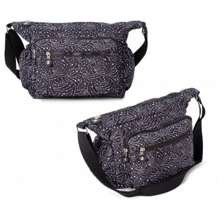 JBNHB30 DOTTY LINES CROSSBAG W 4 ZIPS