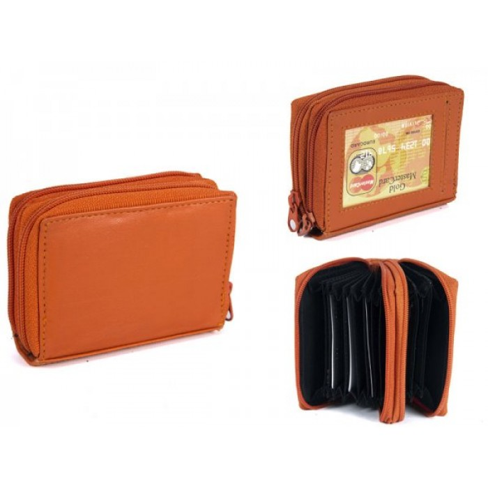PW-02 ORANGE REAL LEATHER TWO ZIP CARD HOLDER PURSE