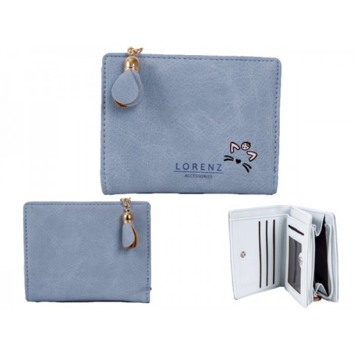 7140 LIGHT BLUE SML PU PERSE WITH CAT FEATURES