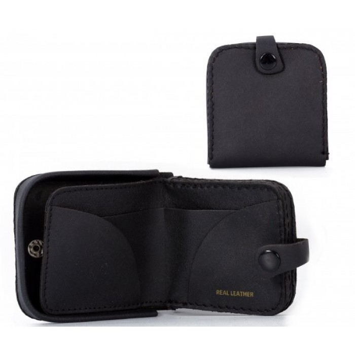 TP-02 BLACK LEATHER COIN PURSE W/ INTERIOR NOTE SECTION