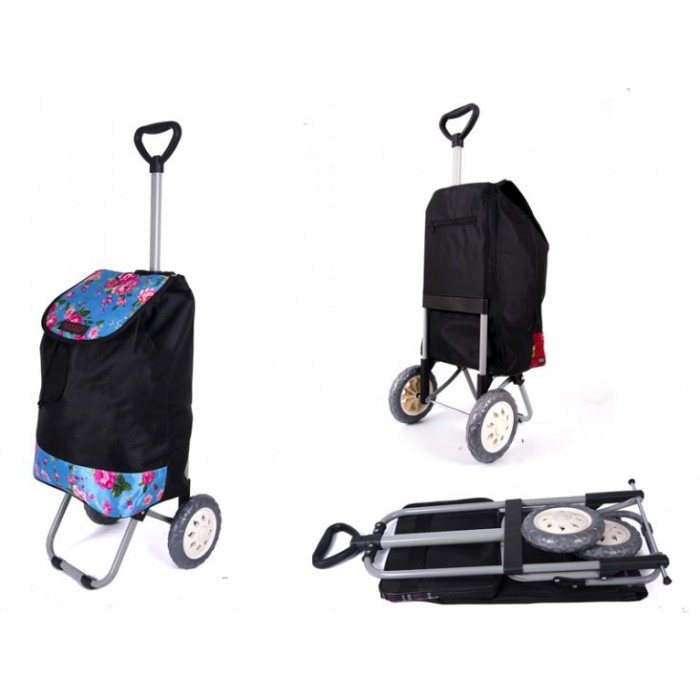 6957 BLACK BLUE ROSES Shopping Trolley with Adjustable Handle