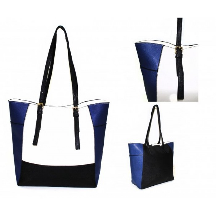 JBFB266 - WHITE / BLUE - HANDBAG WITH ADJUSTABLE STRAP