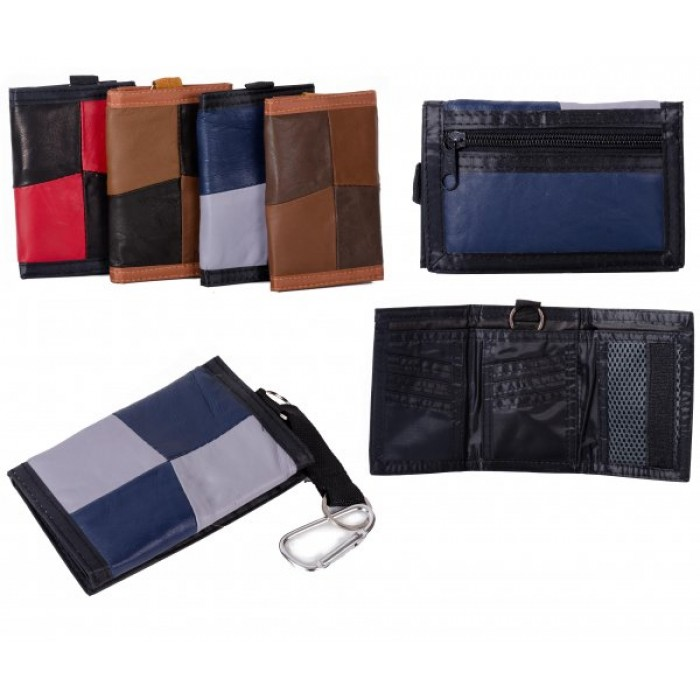 1895 GREY MULTI S.NAPPA TRIFOLD WALLET WT ZIP AND BELT  HOOK