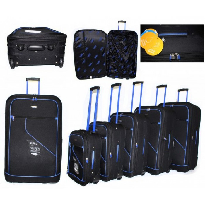 JB2006 BLACK BLUE 5 SUITCASES