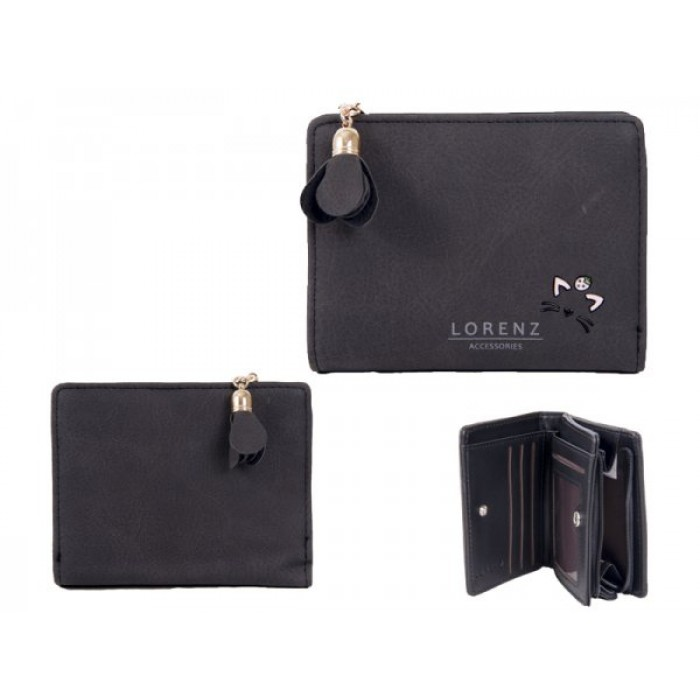 7140 BLACK SML PU PERSE WITH CAT FEATURES