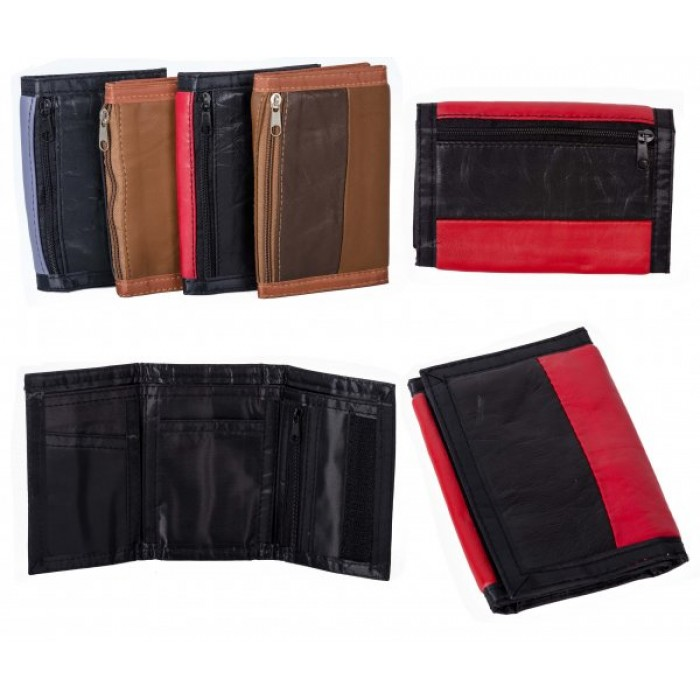 1893 RED MULTI S.NAPPA TRI FOLD WALLET ZIP