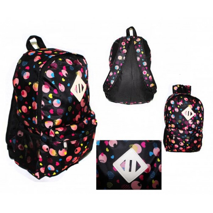 2613 BLACK AND PINK HEARTS BACKPACK