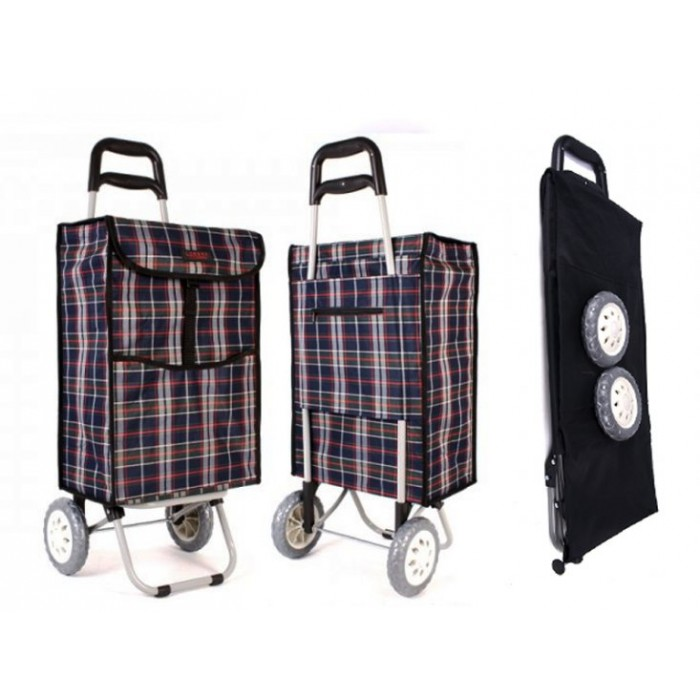 6961 WINTER NAVY TARTAN 2 WHEEL SHOPPING TROLLEY