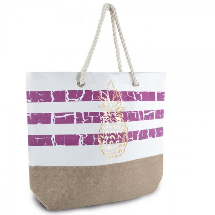 BB1015 STRIPED BAG WITH PINEAPPLE PURPLE