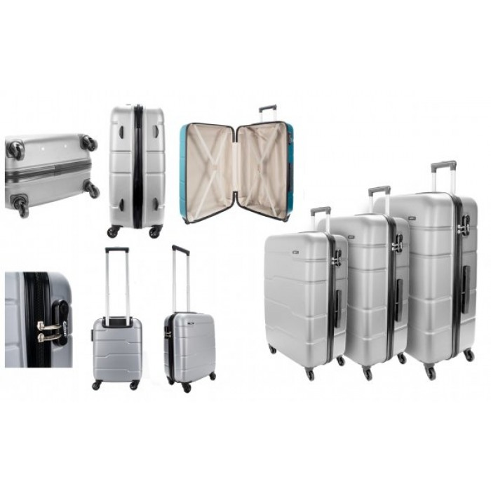 EV-425 4-WHEELED HARDCASE LUGGAGE SET OF 3 IN SILVER