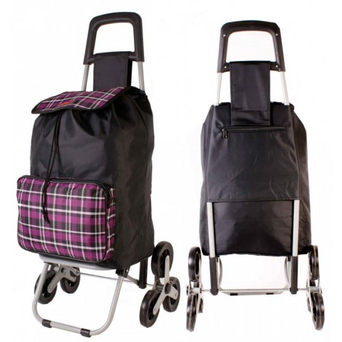 6960 SUMMER CHECKED PURPLE 6 Wheel Stair Climber Shopping Trolley