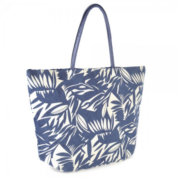 BB0987 LEAF PRINTED CANVAS BAG NAVY