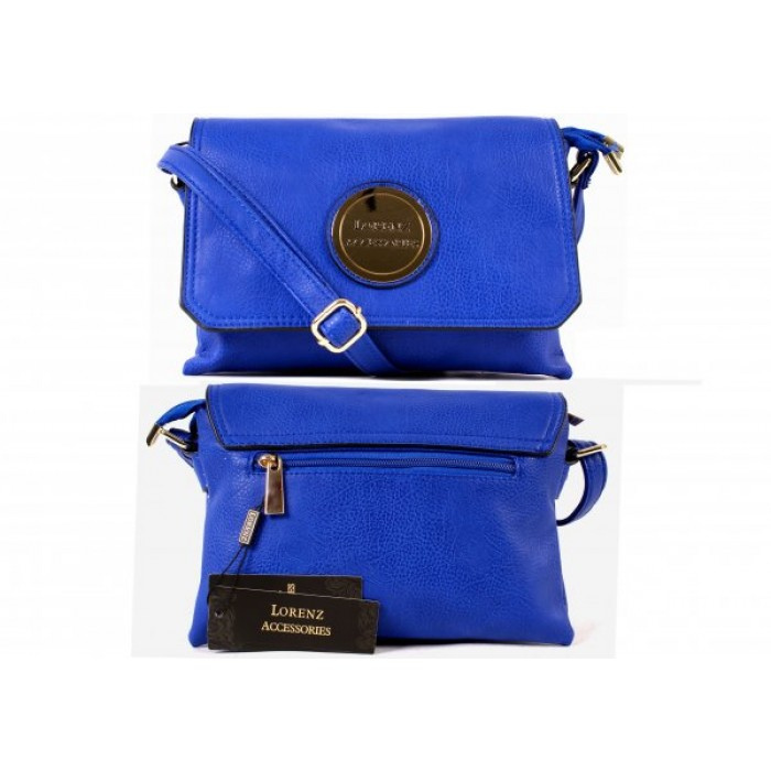 5803PERIWINKLE FAUX LEATHER FLAPOVER BAG, INNER & BACK ZIP- O060