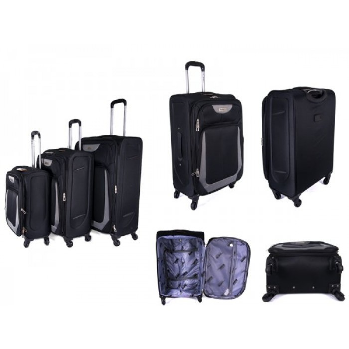 "JB2022 BLACK SET OF THREE TROLLEY CASE 20"",24"",28"""