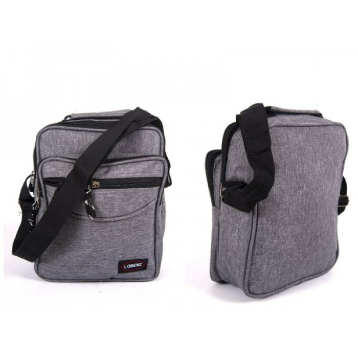 2514 GREY SHOULDER BAG WITH 3 ZIPS ADJ STRAP