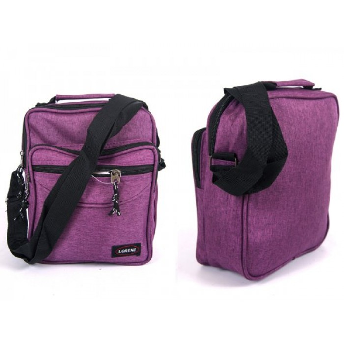 2514 PURPLE SHOULDER BAG WITH 3 ZIPS ADJ STRAP