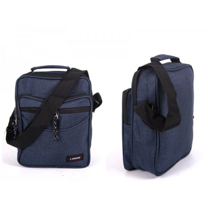 2514 NAVY SHOULDER BAG WITH 3 ZIPS ADJ STRAP