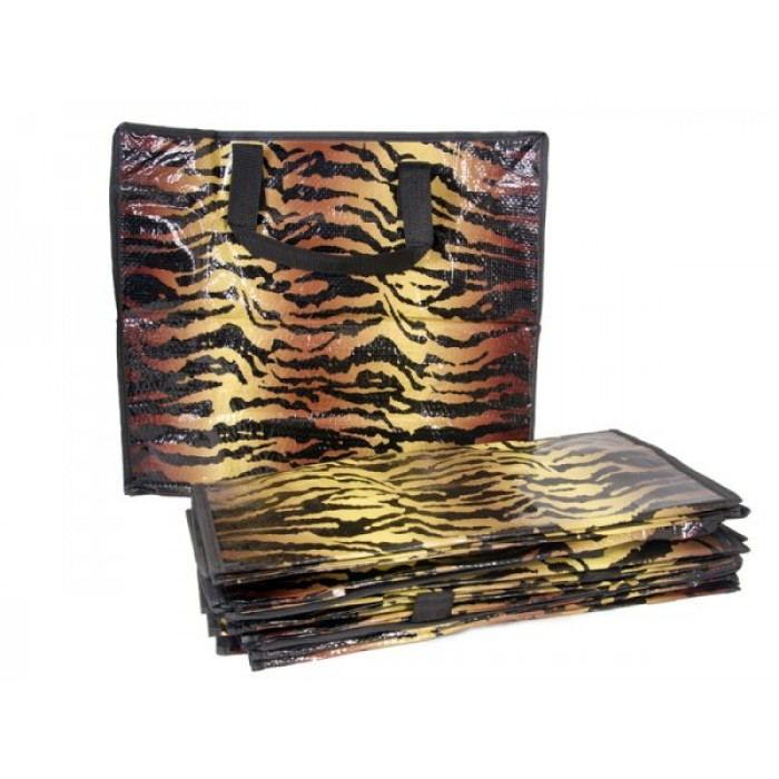 2474 BROWN ZEBRA PRINT MEDIUM LAUNDRY BAG SET OF 12