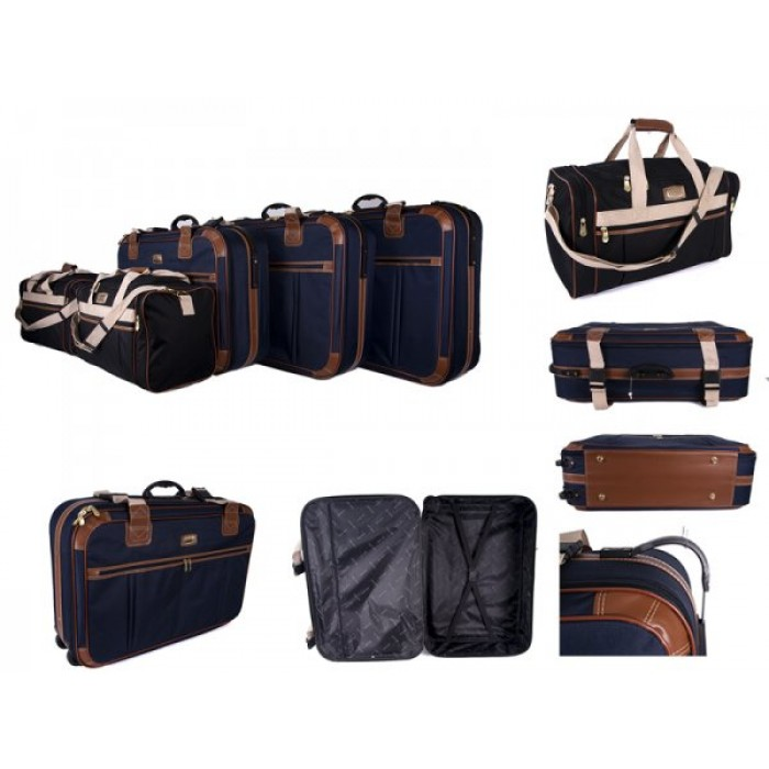 FCS003 NAVY SET OF 3 SUIT CASE WITH 2 BLACK HOLDALLS