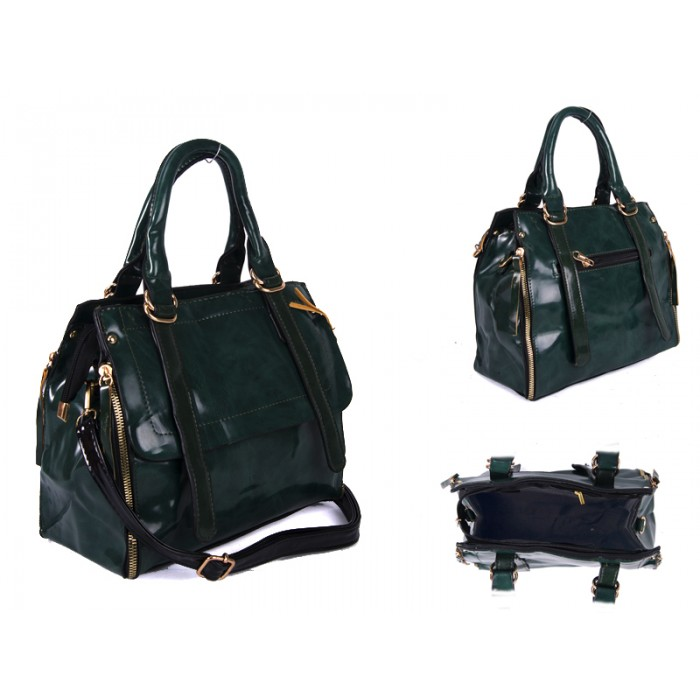 SUS2 GREEN GLOSS PU BAG WITH ZIP DETAILING