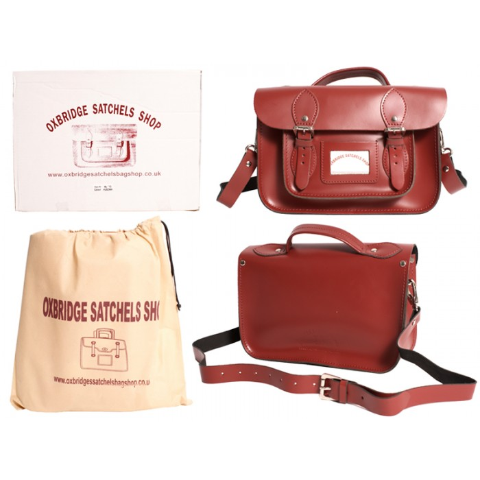 "IN-NEW 11"" RED SATCHEL WITH HANDLE"