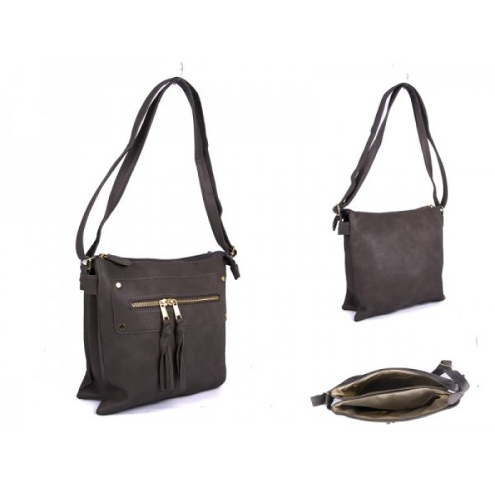 JBFB191-B-GREY PU XBODY BAG WITH 2 ZIPS
