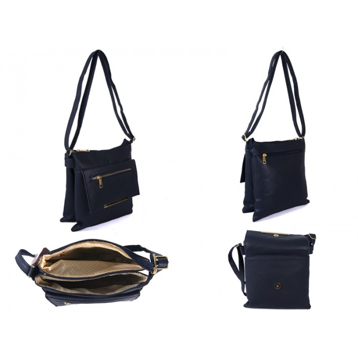 JBFB192-C-NAVY PU XBODY WITH TWO ZIPS AND POP FLAP
