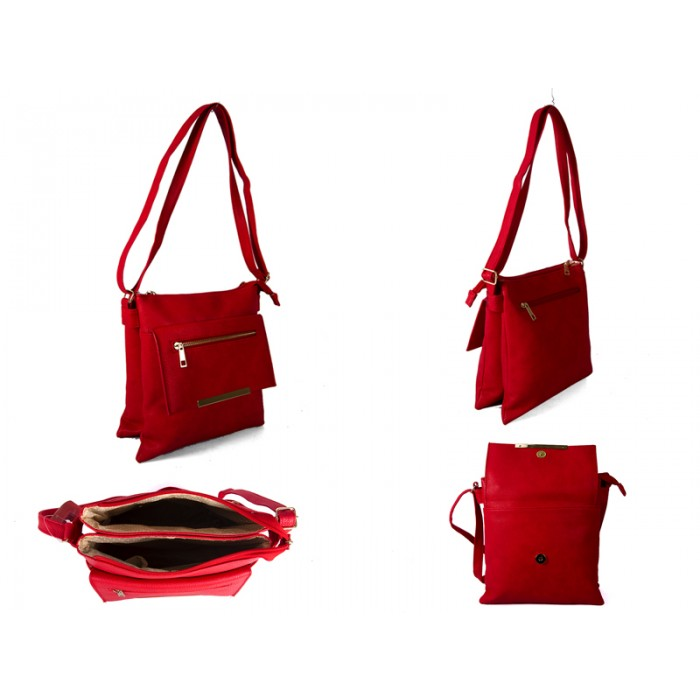 JBFB192-C-RED PU XBODY WITH TWO ZIPS AND POP FLAP