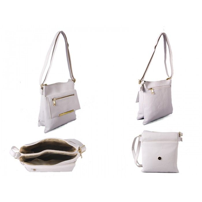 JBFB192-C-WHITE PU XBODY WITH TWO ZIPS AND POP FLAP
