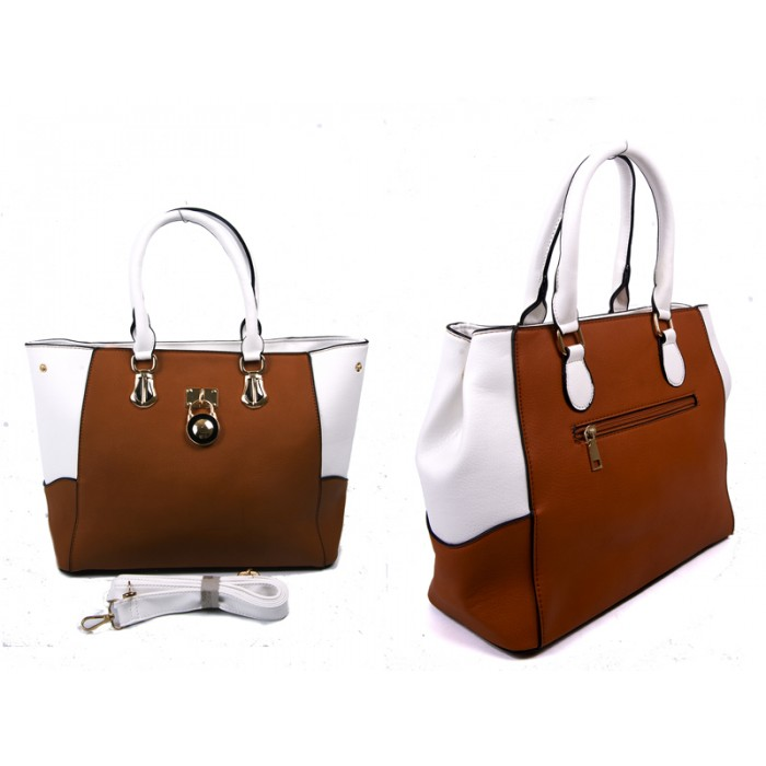 JBFB220 TAN PU HANDBAG WTH METAL TAG DETACH SHOULDER STRAP