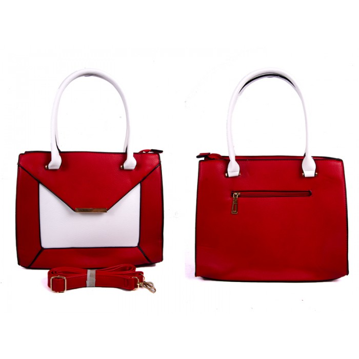 JBFB222 RED PU BAG WTH BRASS DET MAG FLAP AND 3 PKTS