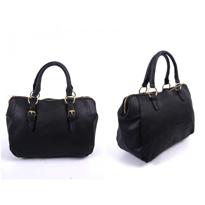 JBFB227 BLACK PU HANDBAG WTH BUCKLE DETAIL
