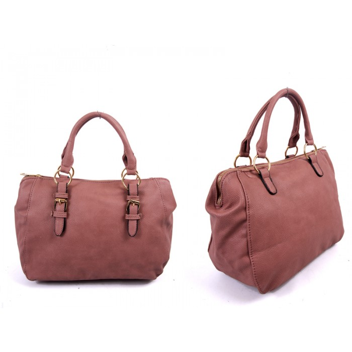 JBFB227 DUSTY PINK PU HANDBAG WTH BUCKLE DETAIL