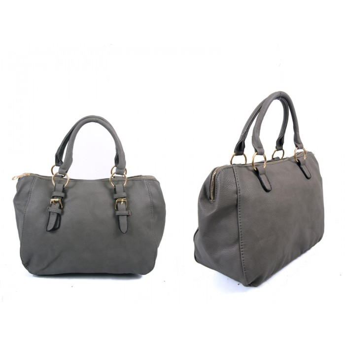 JBFB227 GRAY PU HANDBAG WTH BUCKLE DETAIL