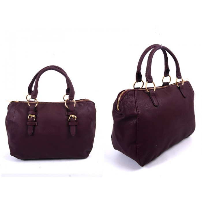 JBFB227 WINE PU HANDBAG WTH BUCKLE DETAIL