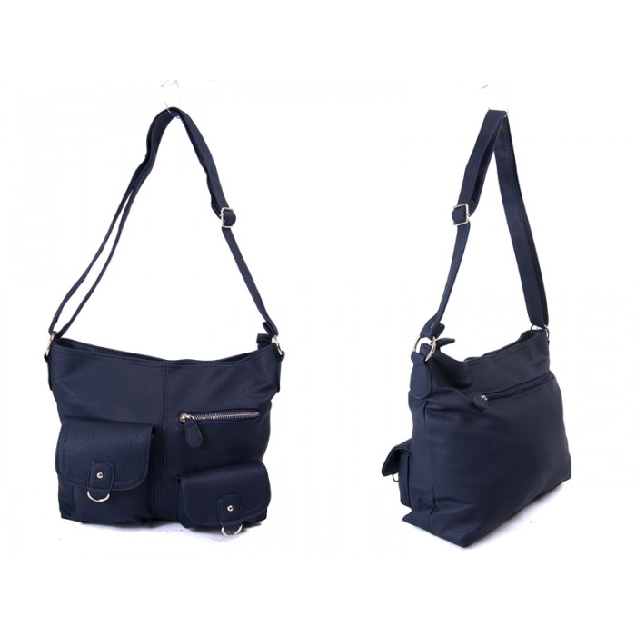 JBFB217 NAVY PU HANDBAG WTH 3 ZIP PKT TWO FLAP PKT
