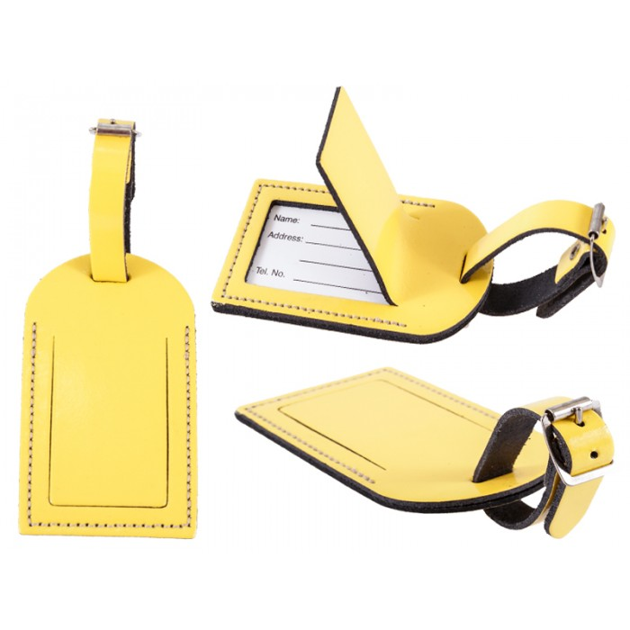 Leather Luggage Tag Yellow Gl.