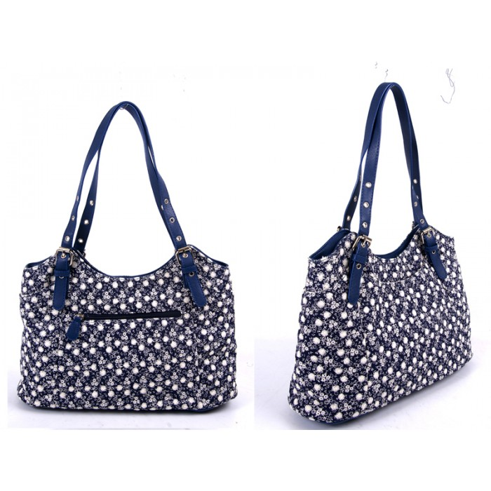 LJ-006 NAVY DENIM SHOULDER BAG WITH REMOVABLE STRAPS
