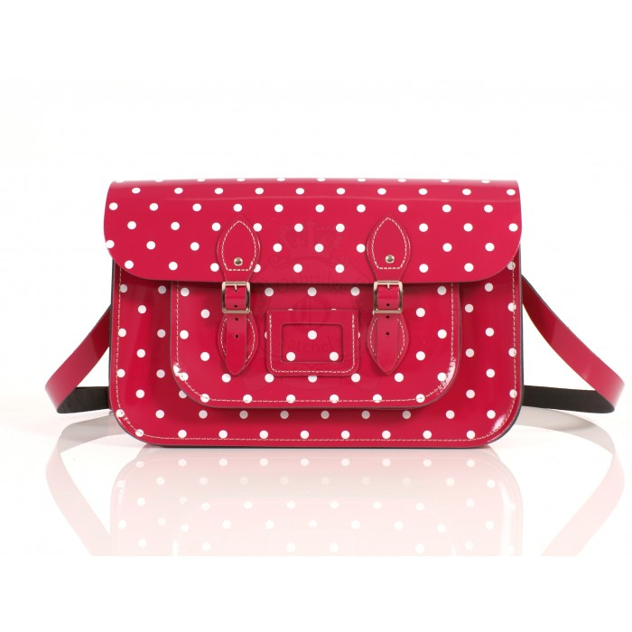 RL15 PATENT PINK POLKA DOT ENGLISH