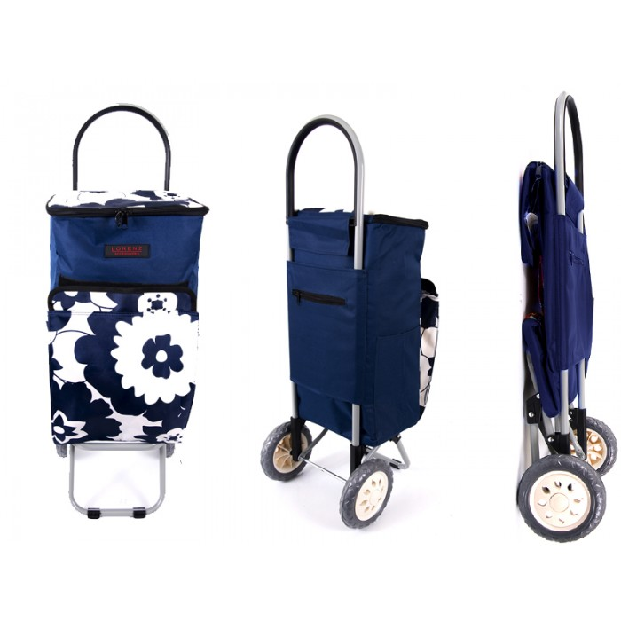 6959 NAVY FLOWERS 2 Wheel Cooler Bag Shopping Trolley